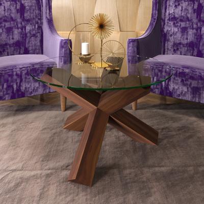 Стол журнальный 900х900х525 мм столешница из сырого стекла